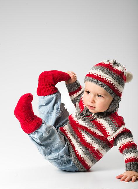 1483 Baby-barntröja, mössa och sockor i ULRIKA